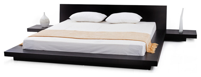 Fujian Modern Bed With 2 Night Stands King, 3-Piece Set, Espresso