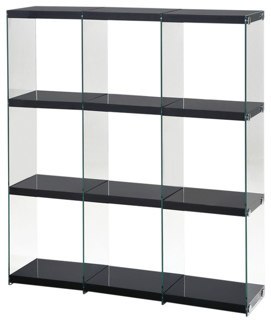 Acme Baxter Bookcase, Black Clear Glass