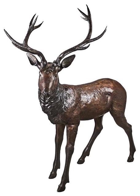 Standing Buck Deer Bronze Statue Rustic Garden Statues