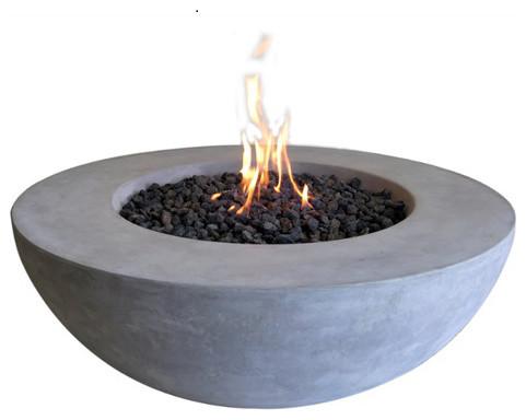 Cast Concrete Lunar Bowl Natural Gas Modern Fire Pits