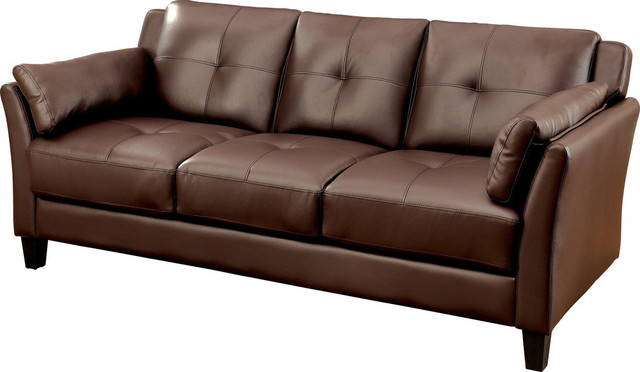 Awe Inspiring Furniture Of America Pierre Tufted Faux Leather Sofa Brown Ncnpc Chair Design For Home Ncnpcorg