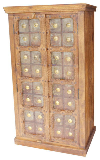Delicieux Consigned Antique Armoire Indian Solid Wood Iron Claddes Vintage Storage