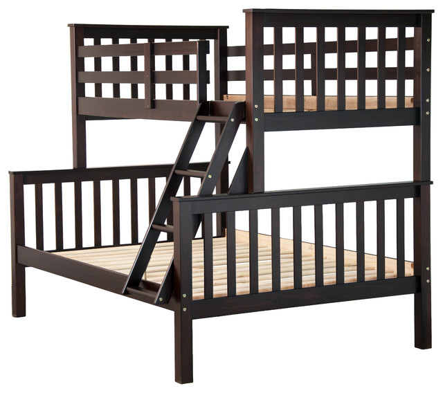 100% Solid Wood Mission Twin Over Full Bunk Bed By Palace Imports, Java.