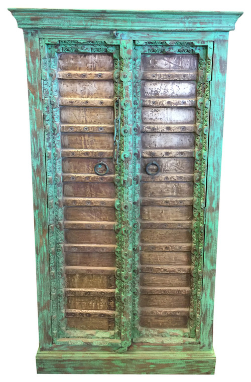 Consigned Antique Armoire Brass Patina Green Storage Cabinet Moroccan Furniture