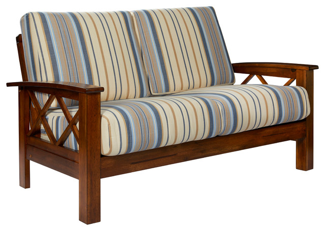 Riverwood X Design Loveseat With Exposed Wood Frame, Blue Stripe.