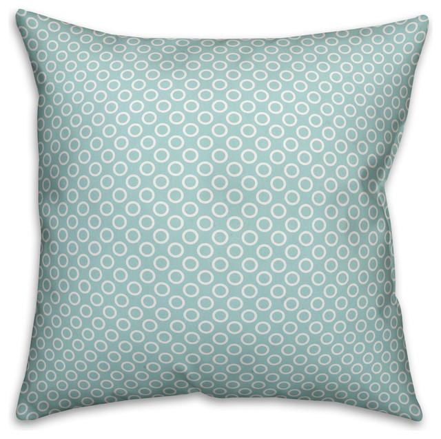 Circle Pattern Blue Outdoor Throw Pillow 18 X18