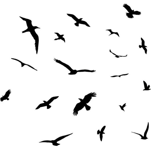 Flock Of Birds Flying Wall Decals Stickers Peel And Stick Wall Art, Black.