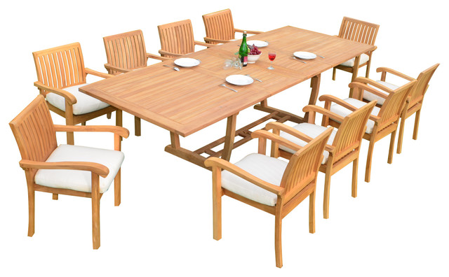 Teak furniture center 11 piece dining set with masc for 11 piece dining table set