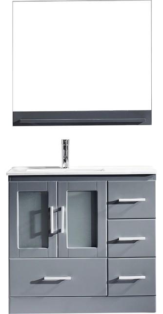 "Zola 36"" Single Bathroom Vanity Set, Gray, White Ceramic Countertop."