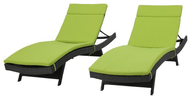 Nassau Outdoor Gray Wicker Adjustable Chaise Lounge Green