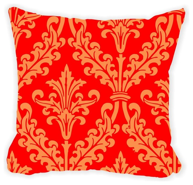 Red Damask Microfiber Throw Pillow No Fill