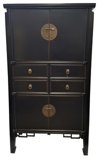 Modern Cabinet With A Chinese Ming Design, Black, 59""