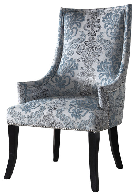 Audrey Teal Gray Fabric Living Room Accent Chair