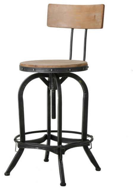 Gdf Studio Modern Industrial Design Adjustable Seat Height Bar Counter Stool Industrial Bar Stools And Counter Stools By Gdfstudio
