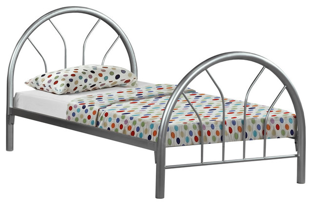 Twin Bed, Metal Frame Only, Silver.