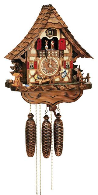 Schneider cuckoo clocks 8 day chalet style wooden black forest house cuckoo clock reviews - Contemporary cuckoo clock ...
