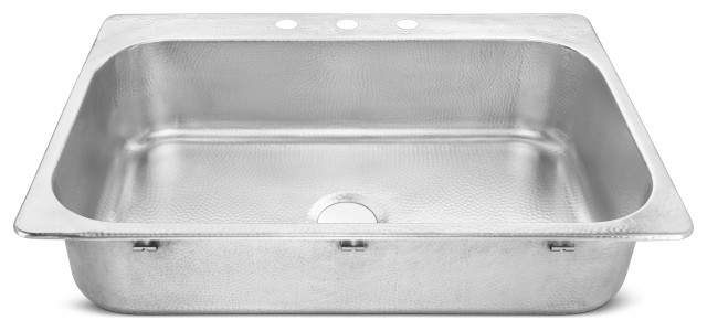 """Graham Drop-In Crafted Stainless 33"""" Kitchen Sink, Brushed Stainless Steel"""