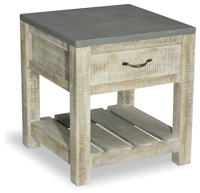 Bb Design Cabin Low 1 Drawer Side Table Rustic Side