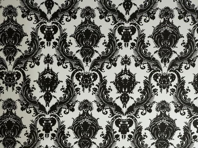 Damsel, Self-Adhesive Removable Wallpaper, Black/White, 56.37 Sq. Ft.