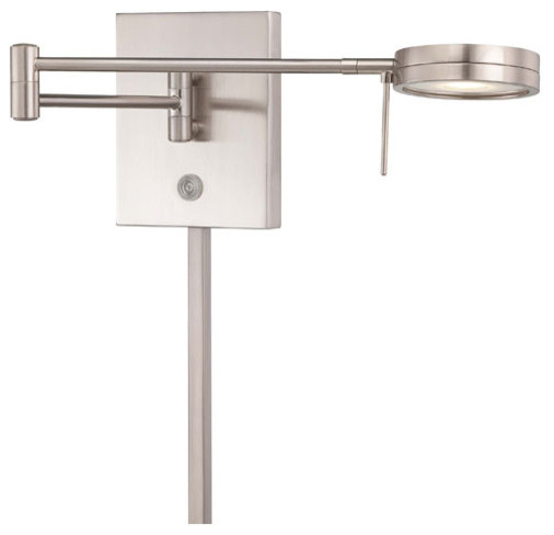 Brushed nickel led swing arm wall lamp w steel shade for 12 volt led table lamp