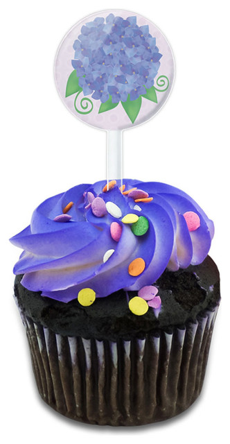 Hydrangea Flower Garden Purple Cupcake Toppers Picks Set.