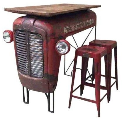 Upcycled Vintage Tractor Bar Set Farmhouse Indoor Pub