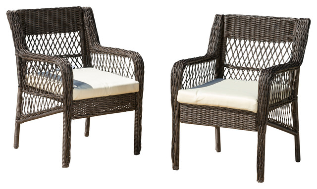 Clara Outdoor Wicker Dining Chairs With Cushions, Set Of 2.