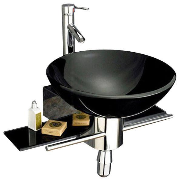 22 Wall Mounted Bathroom Black Tempered Glass Sink Vanity Modern