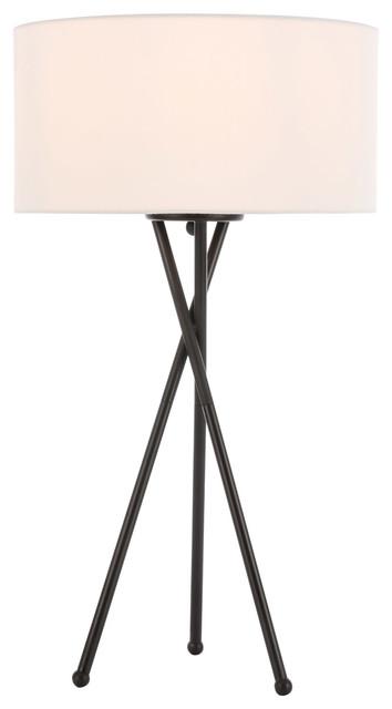 Living District LD6186BK Cason 1 light Black and White shade Floor lamp