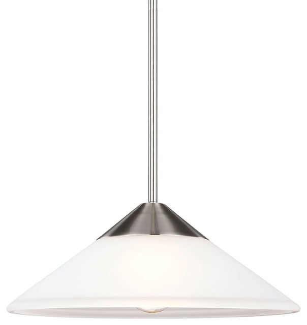 1-Light Pendant, Brushed Nickel.