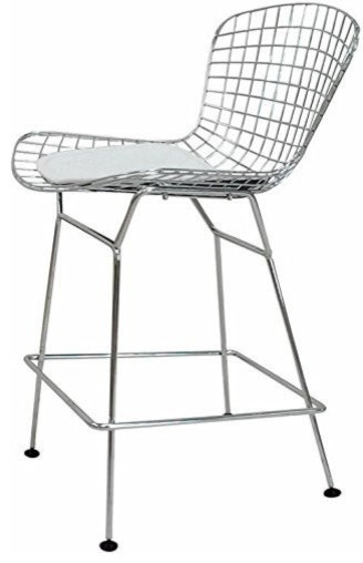 Chrome Wire Counter Stool White Midcentury Bar Stools