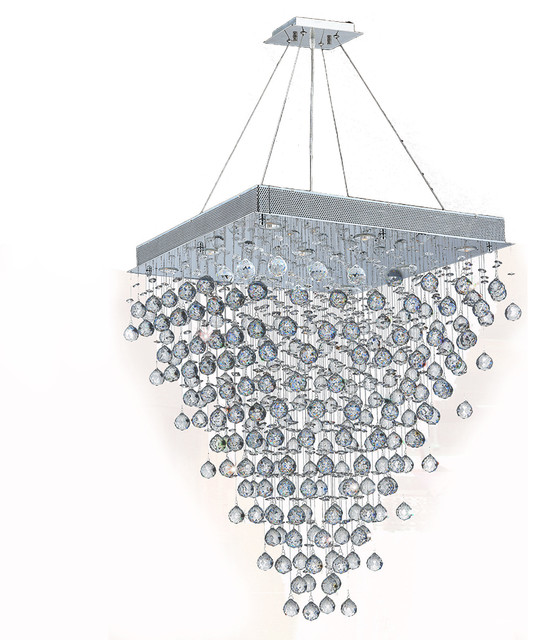 Icicle 10 Light Chrome Finish Raindrop Crystal Chandelier 28 Square