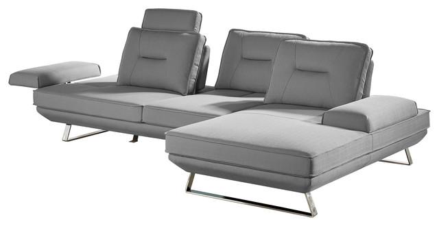 Modern Light Gray Fabric Sondra Sectional, Right Chaise.