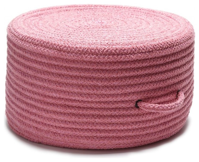 Braided Solid Chenille Pouf Round Pink Ottoman Contemporary Floor Pillows And