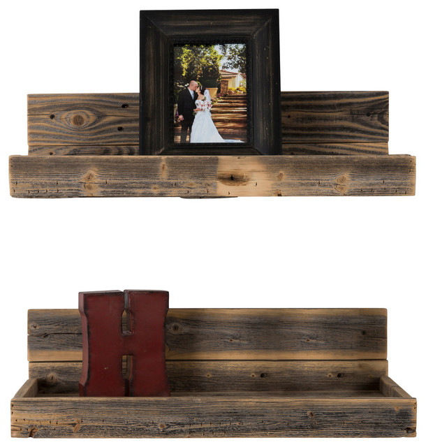 Reclaimed Wood Floating Shelves Set Of 2 Rustic Display And