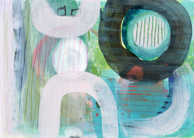 """""""Green Shadows"""" Painting on Chipboard by Sara Franklin, 7""""x5"""""""
