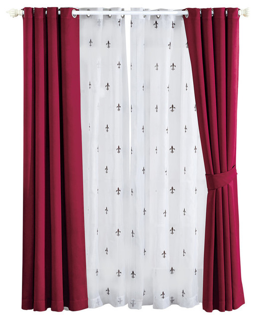 "Fleur De Lis Blackout Curtains 6-Piece Set, Burgundy, 54""x63"""