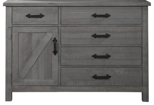 Austin 5-Drawer One Door Solid Wood Chesser, Rustic Gray.