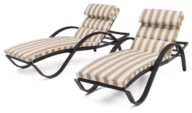 Deco Chaise Lounges Chair, Set of 2 by RST Brands, Beige Stripe