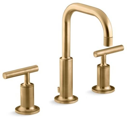 Kohler Purist Widespread Bathroom Faucet, Vibrant Moderne Brushed Gold