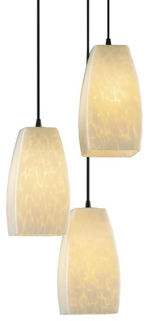 Justice Design Small 3-Light Cluster Pendant, Droplet Glass, Dark Bronze.