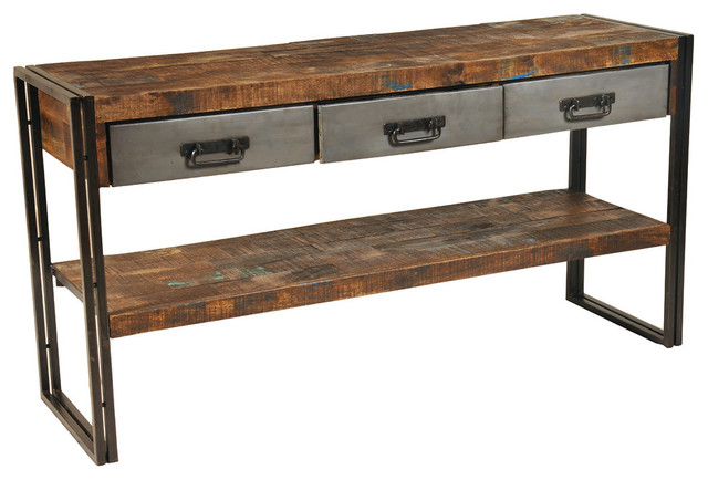 reclaimed wood and metal 3 drawers and 1 shelf sofa table