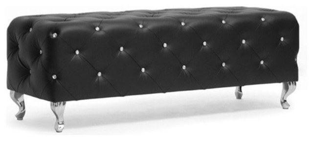 Bowery Hill Faux Leather Tufted Bench, Black.