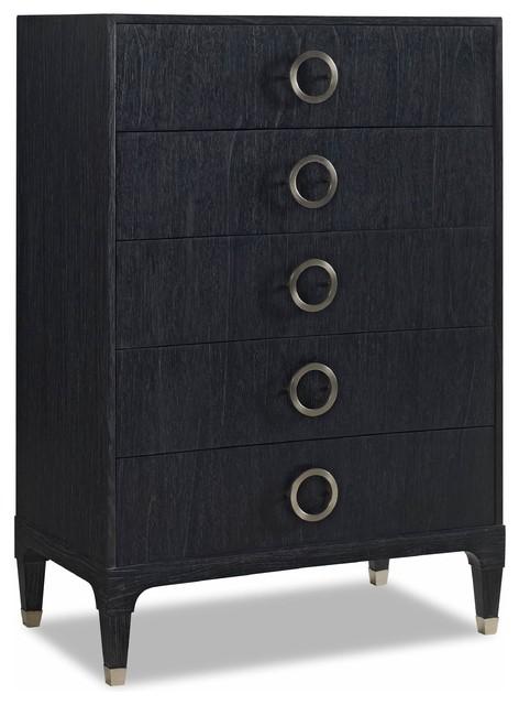 Haiden Modern Clic Black Onyx Steel 5 Drawer Tall Dresser