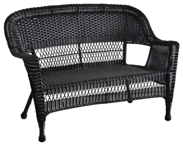 Cool Jeco Inc Patio Decorative Black Wicker Patio Love Seat Pdpeps Interior Chair Design Pdpepsorg
