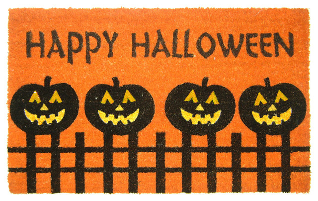 Halloween Pumpkin Fence Doormat.