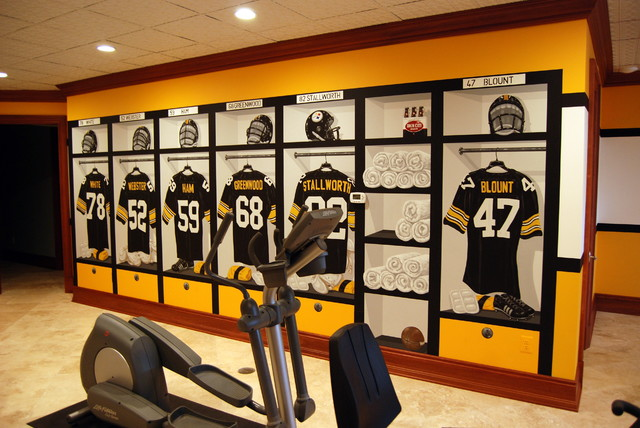 Steelers Man Cave Furniture : Pittsburgh steelers s themed locker room murals in a