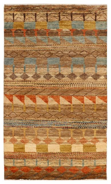 Handmade Stani Gabbeh Rug Multi Colored 3 X 5 1 Contemporary Area Rugs By Alrug