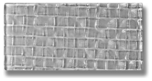 "3""x6"" Gray Pebble Metro Cube Glass Subway Tile, Set Of 96."