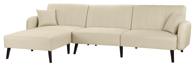Mid Century Reclining Sleeper Sofa Bed With Chaise Lounge, Beige